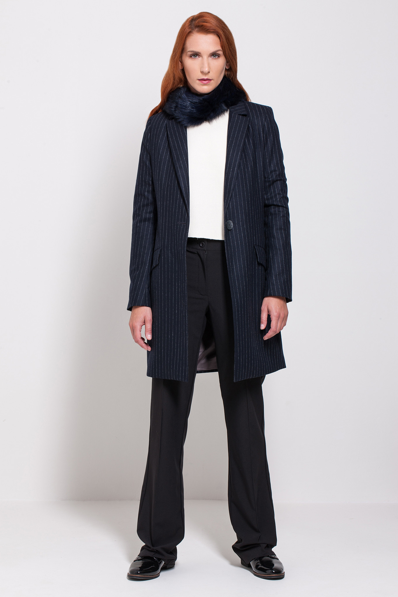 Navy wool and cashmere stripe long jacket Samanta by Coat Creators.